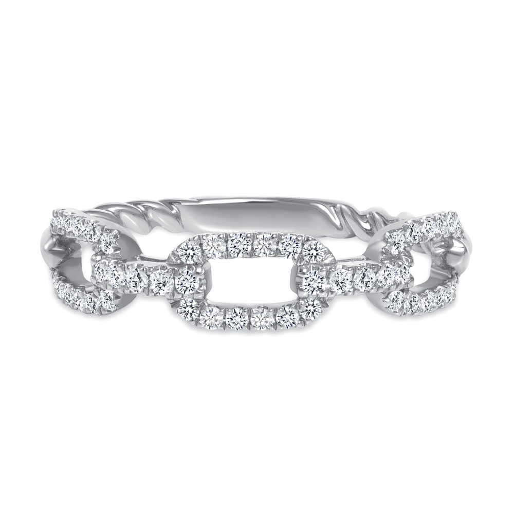 diamond link rope wedding ring white gold