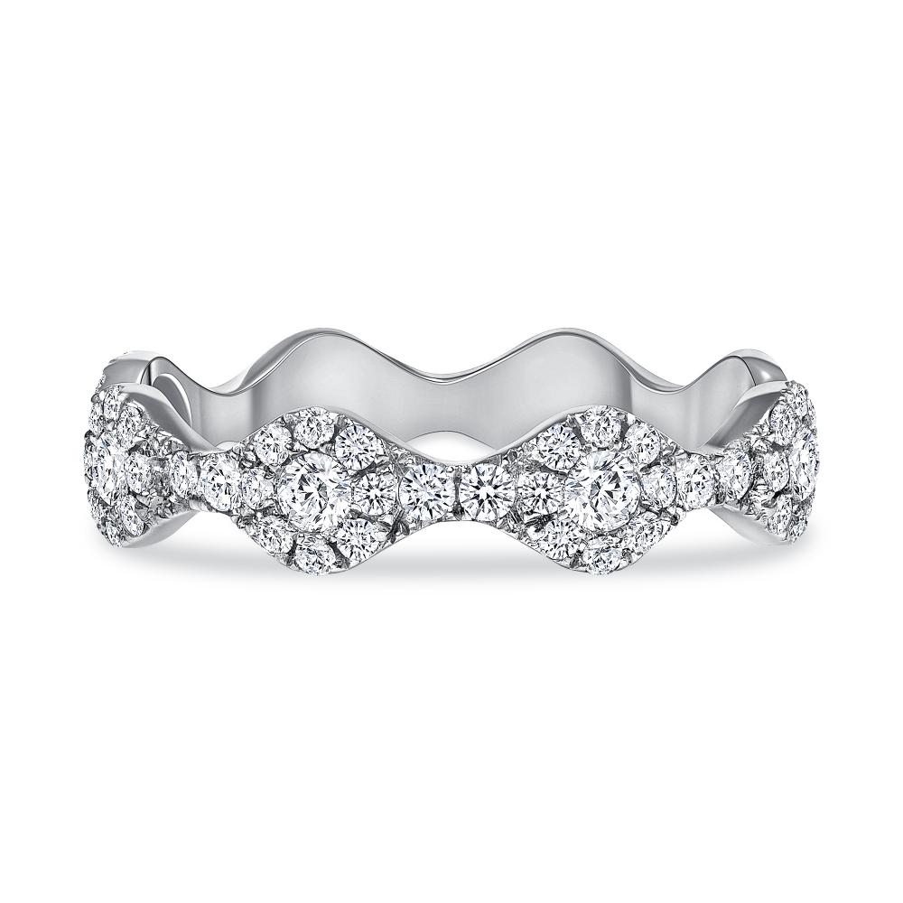 Round diamond wavy wedding ring white gold