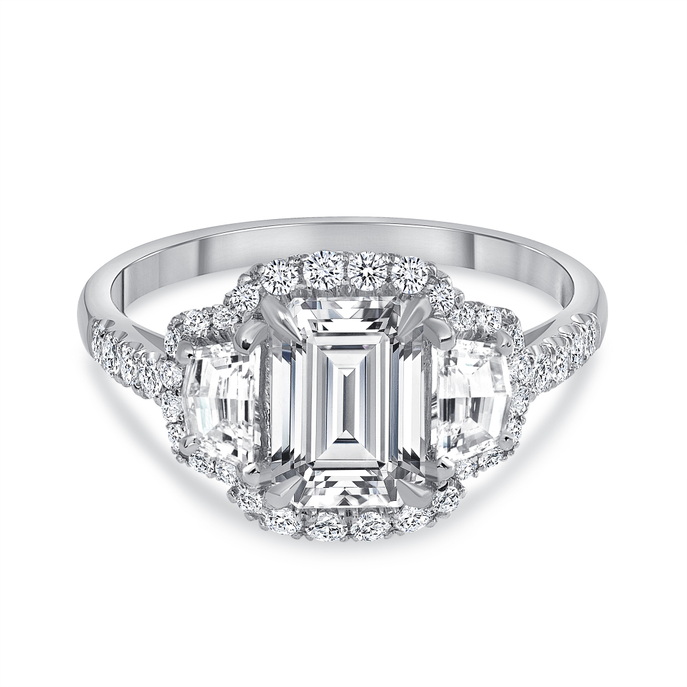 emerald diamond engagement ring white gold