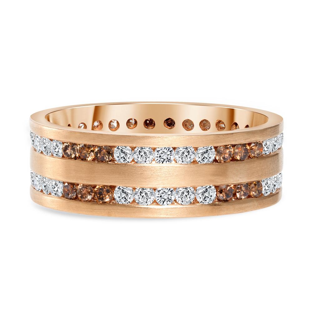 channel set round diamond band rose gold