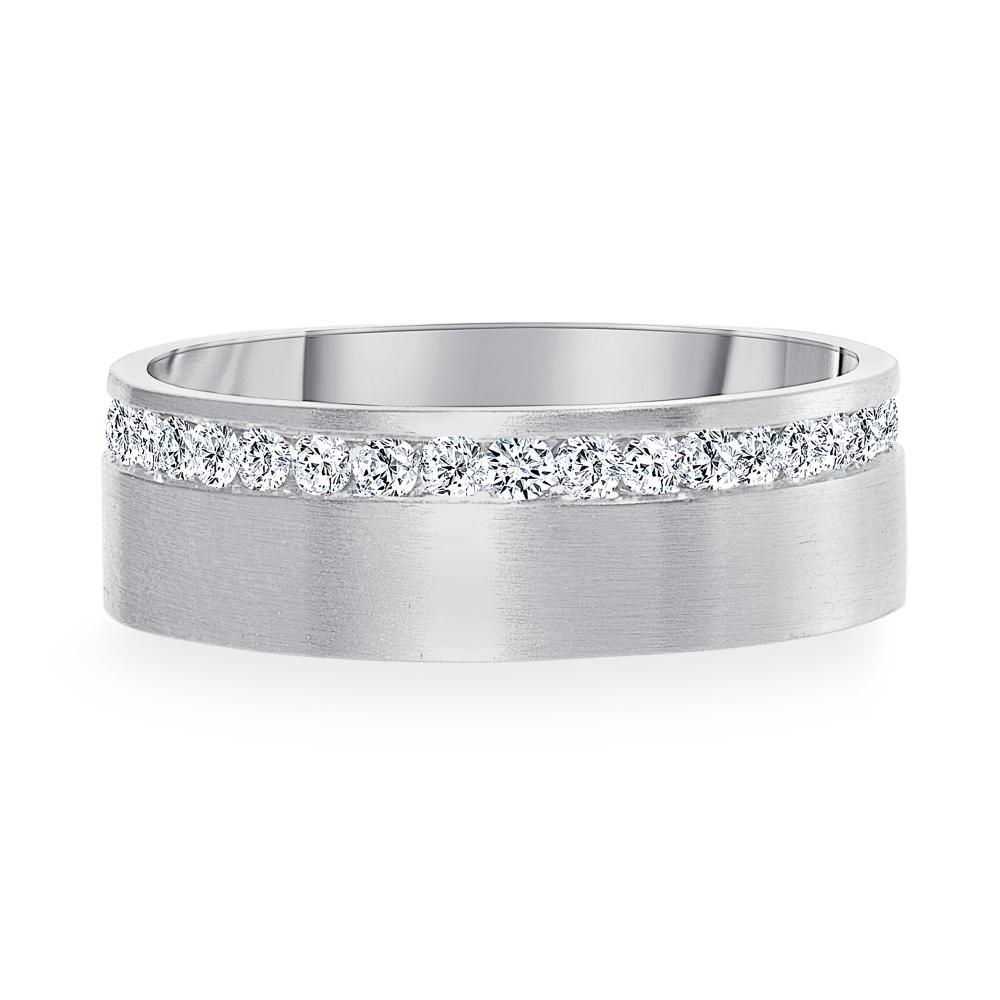 simple diamond band white gold