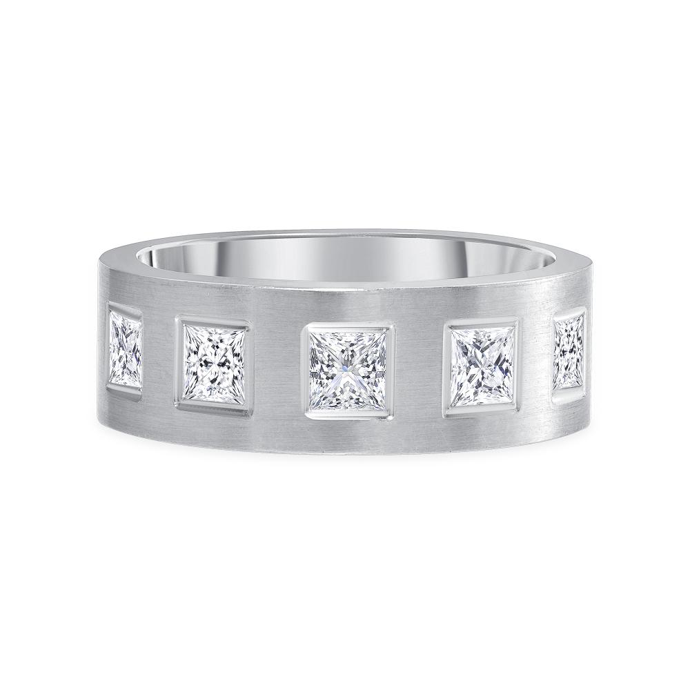 5 stone diamond band white gold