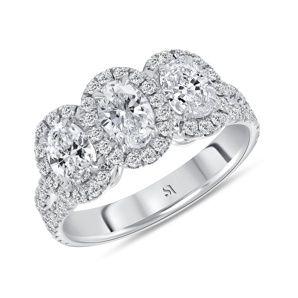 3 stone halo engagement ring white gold