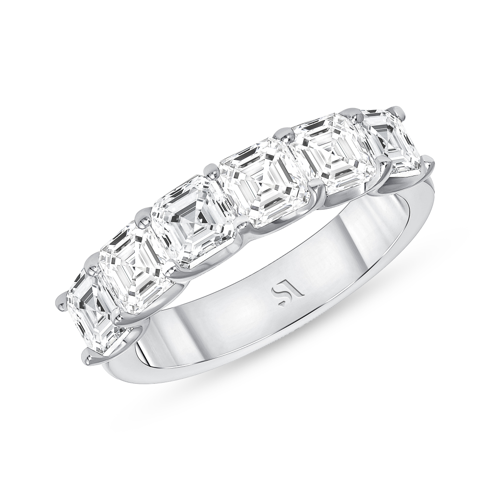 asscher diamond eternity band white gold