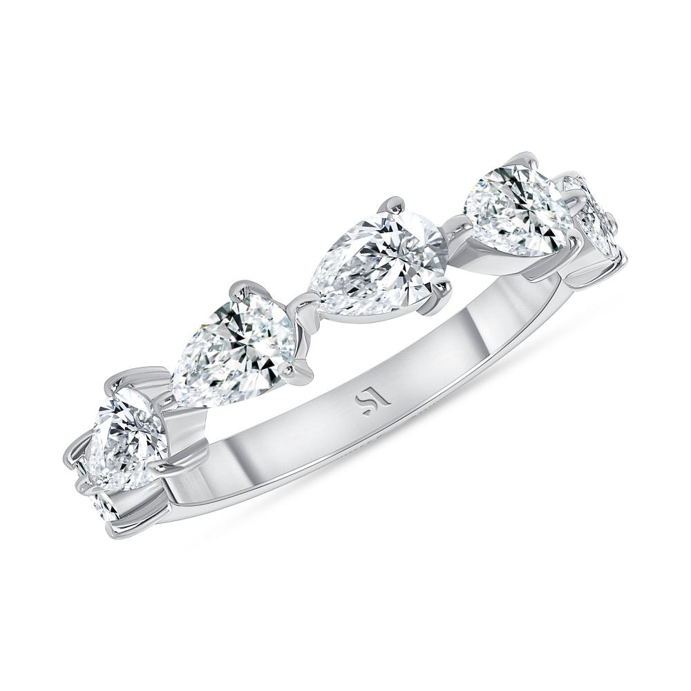 Pear shape diamond halfway eternity band white gold