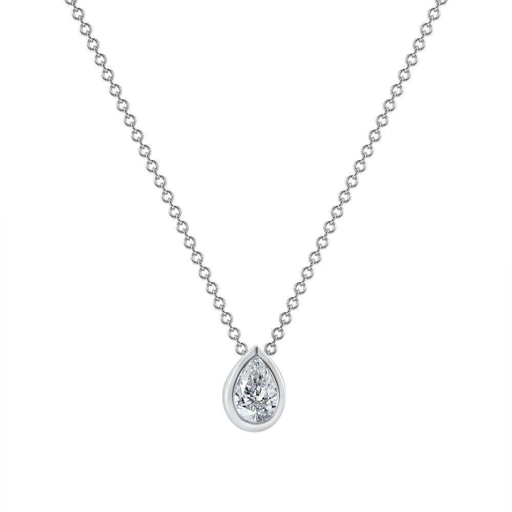 Pear shape Diamond Bezel Set Necklace white gold