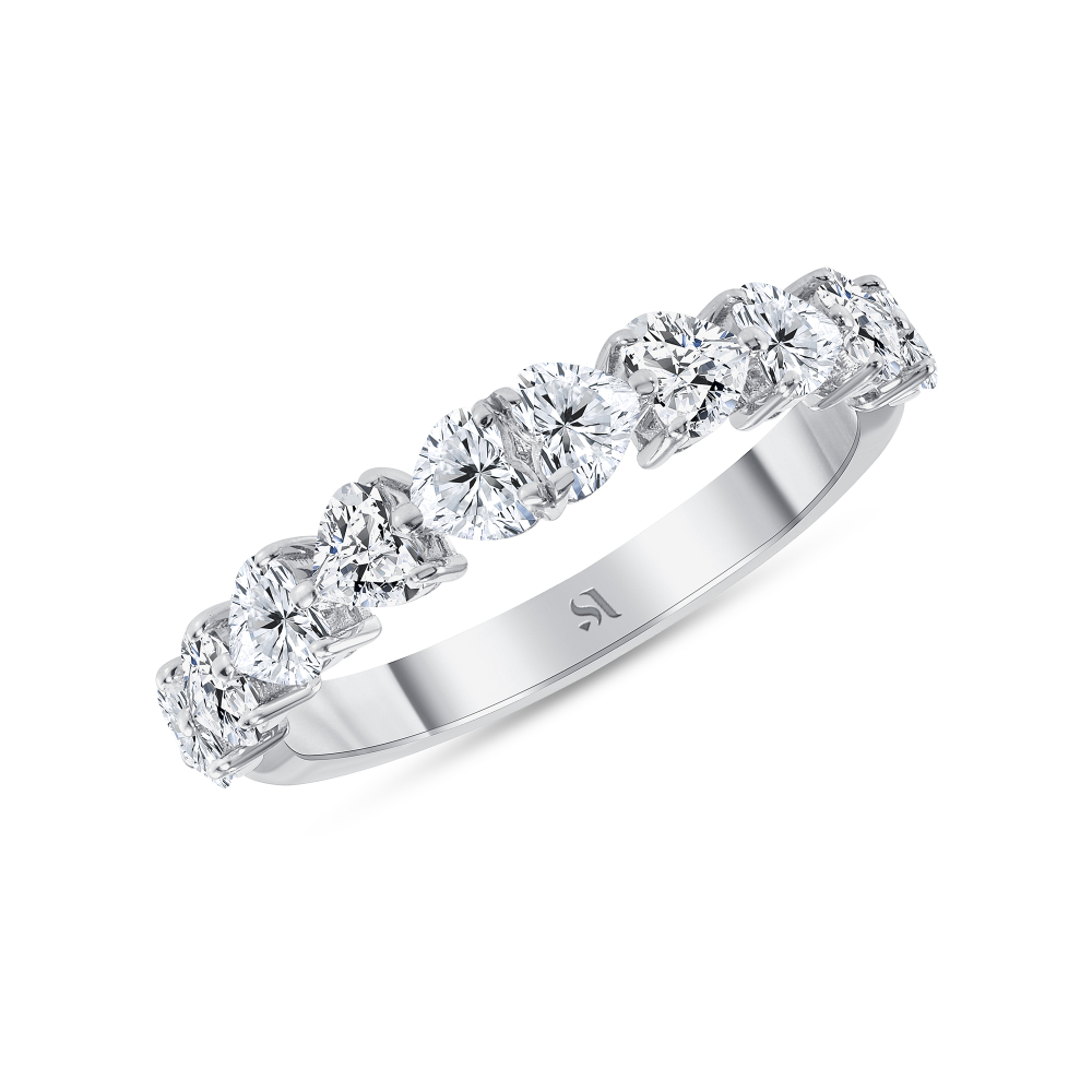 Half heart shaped diamond ring white gold