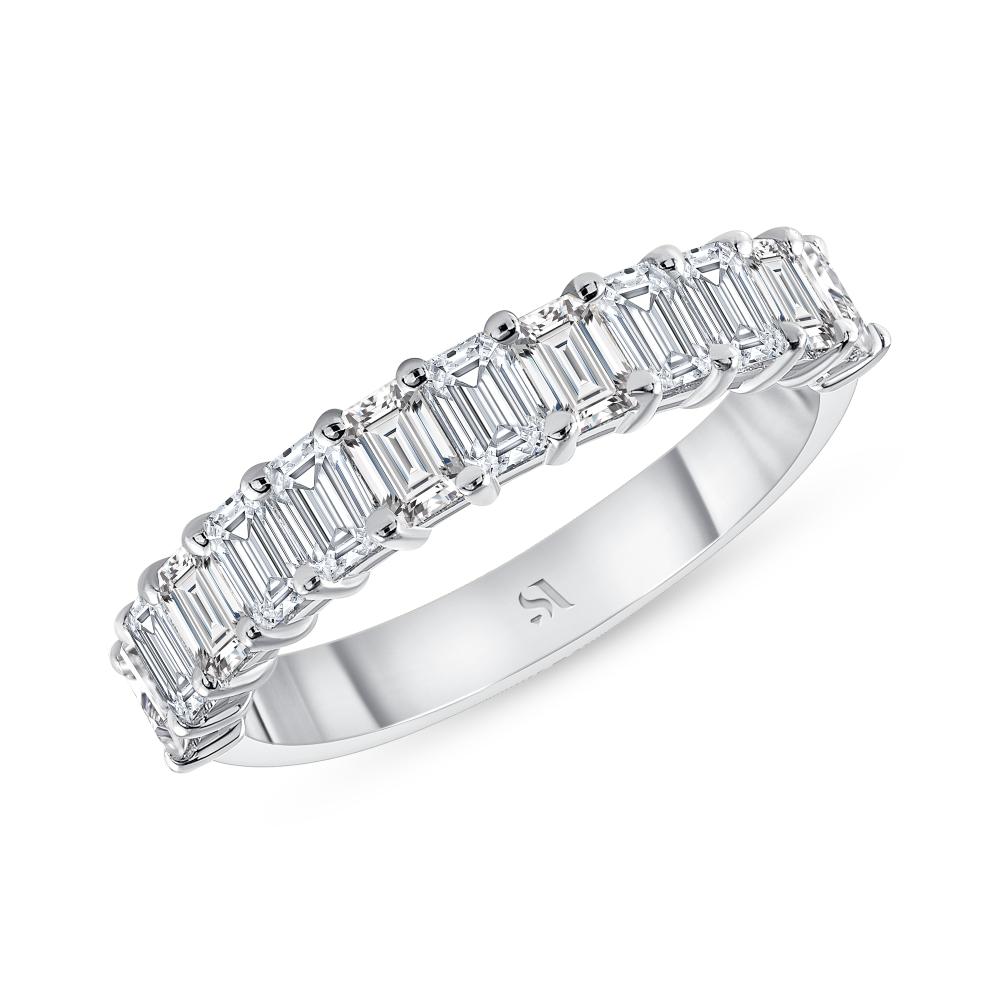 Petite emerald cut diamond halfway eternity band white gold