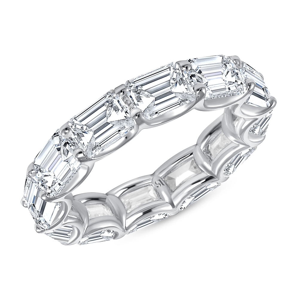 white gold east west emerald cut eternity band