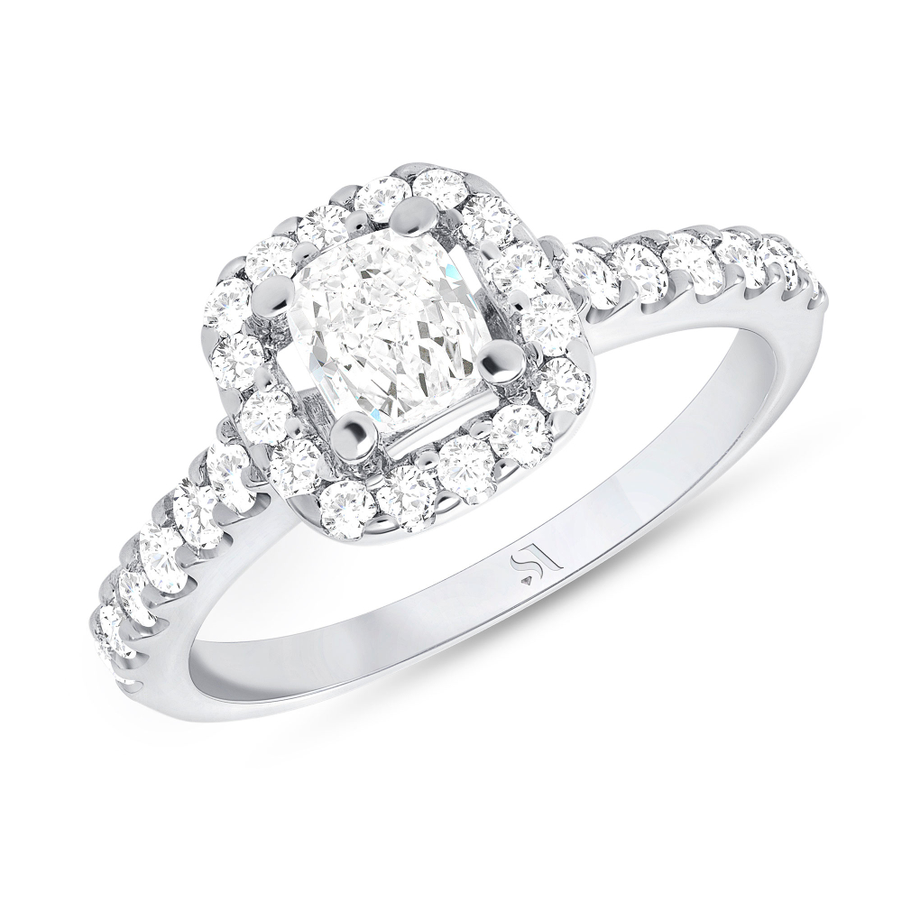 1 carat halo engagement ring white gold