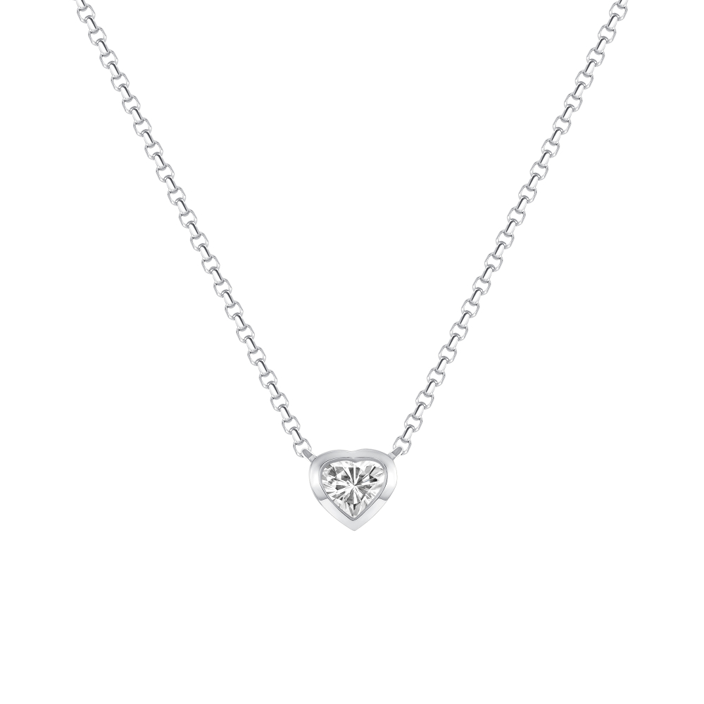 white gold heart shaped diamond necklace