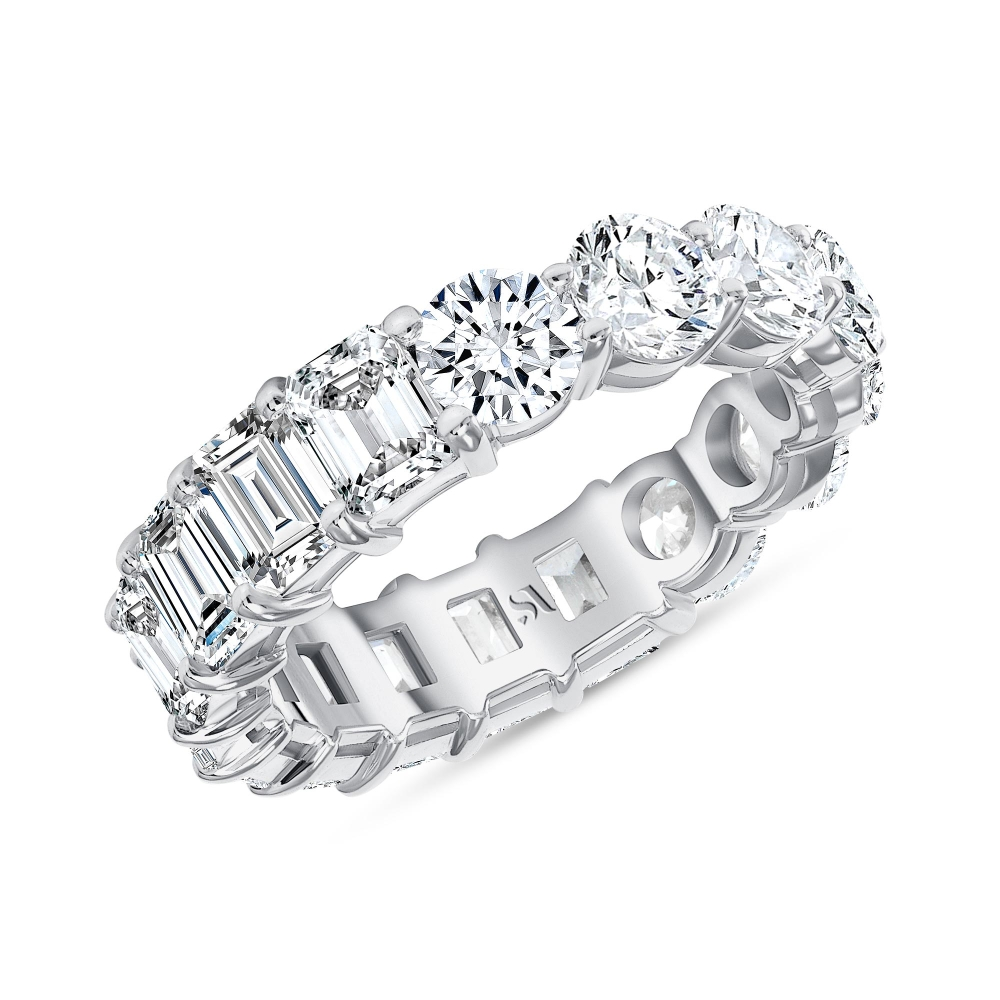 emerald half eternity band white gold