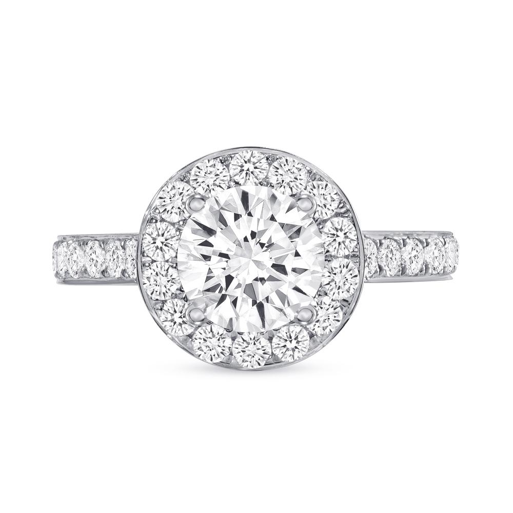 14k gold round diamond halo engagement ring