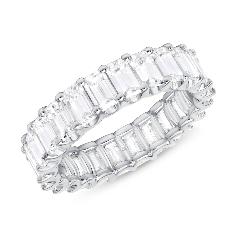 Emerald Cut Full Eternity Band U Prongs White Gold | Sabrina A Inc