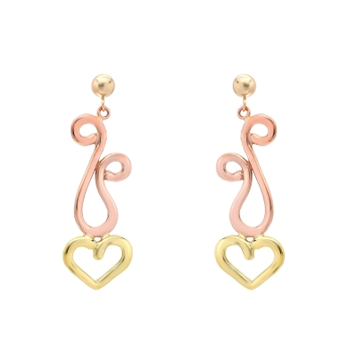 Pink and Green Dancing Hearts Earrings (small)
