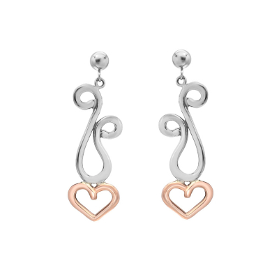 Pink and Silver Dancing Hearts Earrings (small)