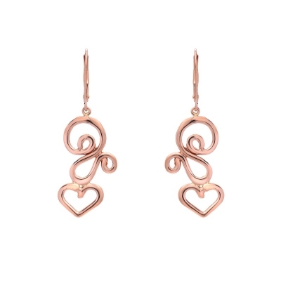 Pink Swirl Dancing Hearts Earrings