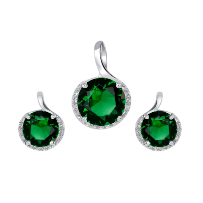 Sterling Silver Round Emerald Set