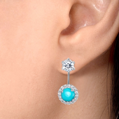 Sterling Silver Bell Style Cz Turquoise Earring