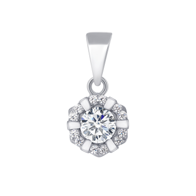Sterling Silver Flower Round Center Cz Pendant