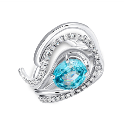 Sparkling Blue Wave Wedding Ring Set