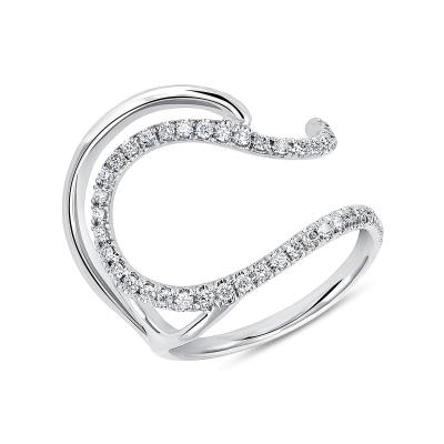 Sparkling Blue Wave Wedding Ring Set