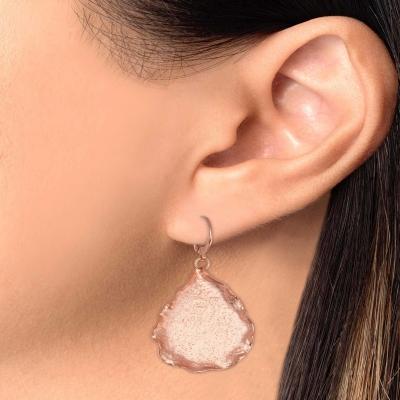 Sterling Silver Hammered Drop Leave Earrings
