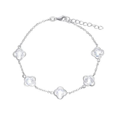 """Flower 5 MM Round Cz Bracelet Plus 1"""" Extension"""