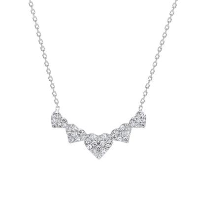 Sterling Silver 5 Full Cz Heart Pendant