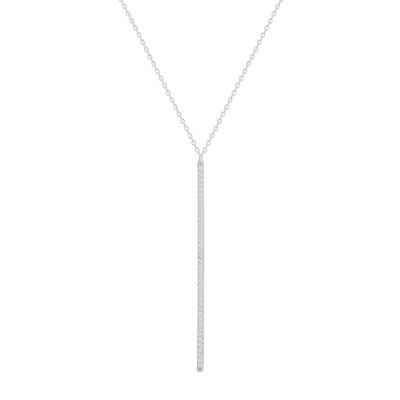 Sterling Silver Long Cz Bar Drop