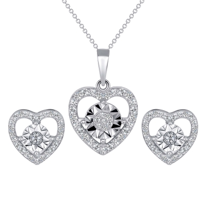 Sterling Silver Heart With Pave Round Center Set