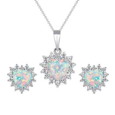 Sterling Silver Opal Heart Set