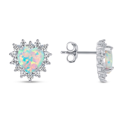 Sterling Silver Opal Heart Earring