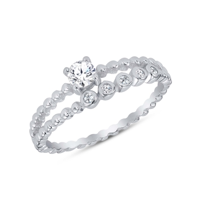 Sterling Silver 2 Row Ring With Multiple Cz