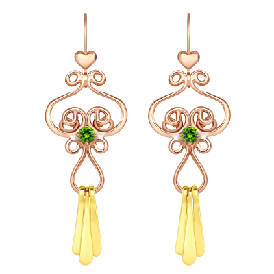 Pink and Green Snowflake Earrings