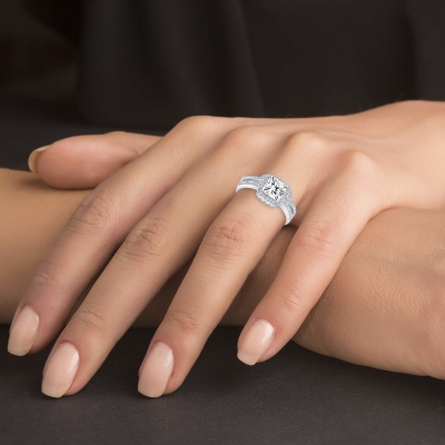 Sterling Silver 2 Piece Halo Style Ring And Cz Ban