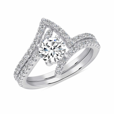 Sterling Silver 2 Piece Wedding Halo Style