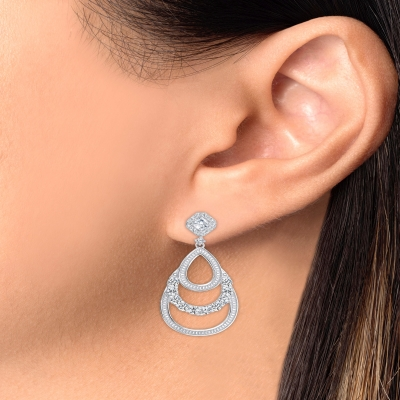 Sterling Silver Round Chandelier Style Earring