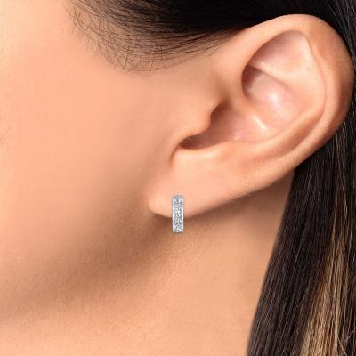 Sterling Silver 1 Row Designed Hoop Earring