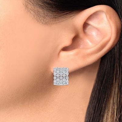 Sterling Silver 4 Row Designed Hoop Earring