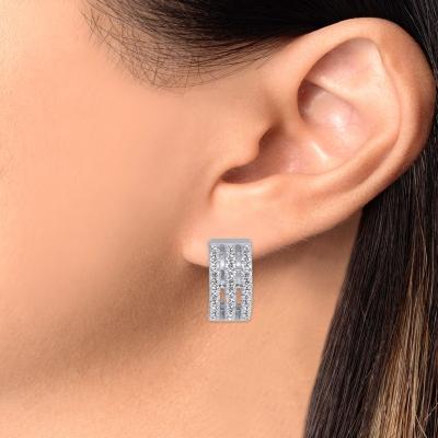 Sterling Silver 3 Strands Hoop Earring Endless