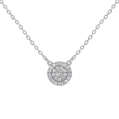 Sterling Silver Micro Pave Circle Necklace