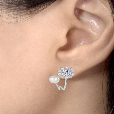 925 Sterling Silver Flower and Pearl Earring