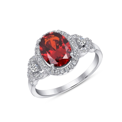 Sterling Silver Halo Style Garnet Ring
