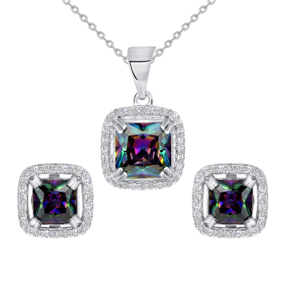 Sterling Silver Mystic Topaz Square Set