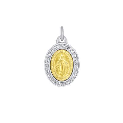 Sterling Silver Swarovski Oval Virgin Mary