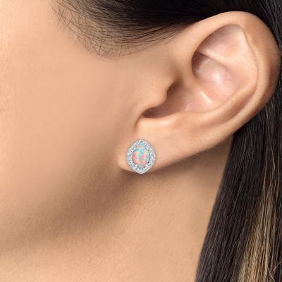 Sterling Silver Marquise Opal Earrings