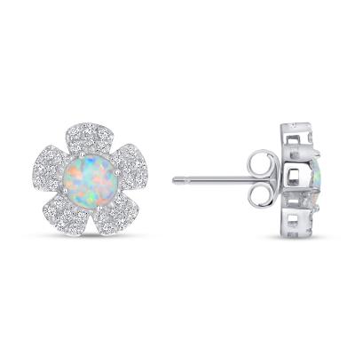 Sterling Silver Flower Opal Earrings