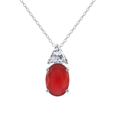 Sterling Silver Red Oval Necklace