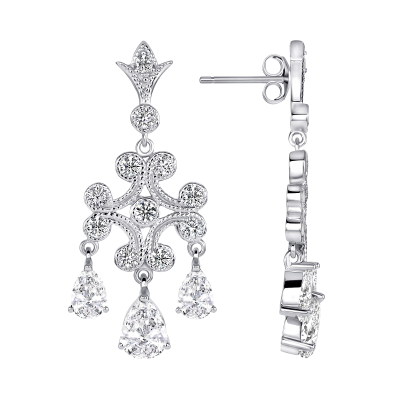 Sterling Silver Clear Chandelier Earrings